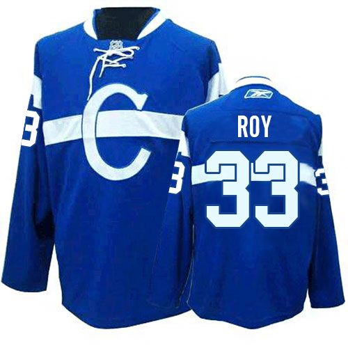Patrick Roy Jersey-Buy 100% official Reebok Patrick Roy Men's Authentic Blue Jersey NHL Montreal Canadiens #33 Third Free Shipping.