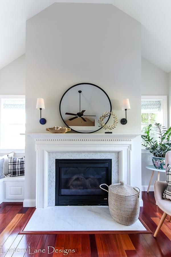 Fireplace Makeover Using Peel And Stick Tile Fireplace Makeover Farmhouse Style Lighting Fixtures Affordable Home Decor