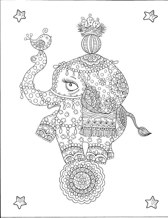 hippie elephant coloring pages - photo#2