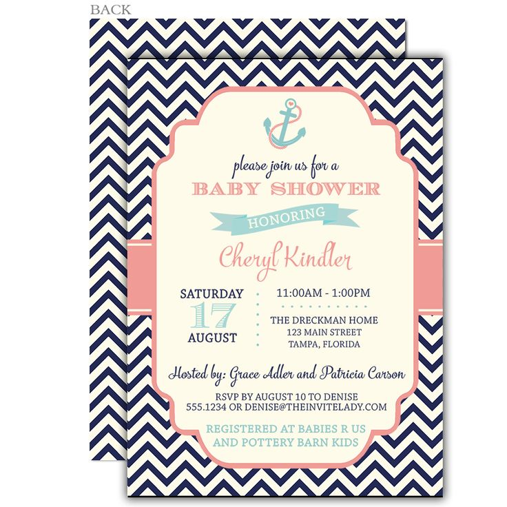 58 best Chevron Baby Shower Ideas images on Pinterest Chevron - baby shower invitation letter