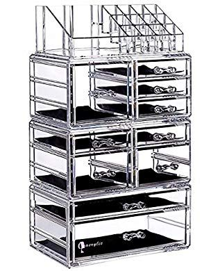 Cq acrylic Large 8 Tier Clear Acrylic Cosmetic Makeup Storage Cube Organizer with 10 Drawers. It Consists of 4 Separate Organizers, Each of Which Can be ...