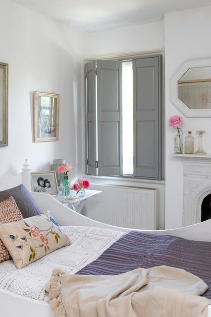 Grey shutters, white walls, sleigh bed, Guests Bedroom Ideas, Furniture & Designs (houseandgarden.co.uk)