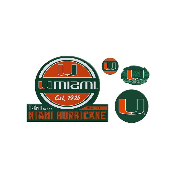 Miami Hurricanes Game Day 4-Piece Magnet Set, Multicolor