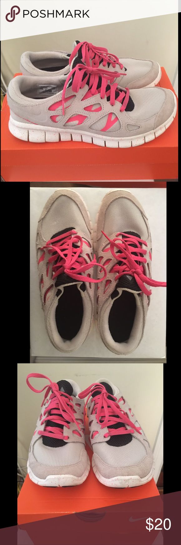 Nike Free 2 Gray & Pink LIKE NEW! Nike Free 2 Gray & Pink LIKE NEW! 8.5 WIDE with Nike+. Never worn!! Nike Shoes Athletic Shoes