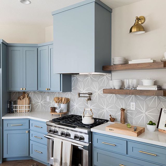 This Baby Blue Kitchen Designed By Designshopinteriors Features