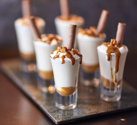 Dulce de leche and Irish cream liqueur in a mini milkshake shot, perfect for parties!