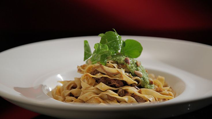 Lamb Ragù with Fettuccine and Pea Pesto