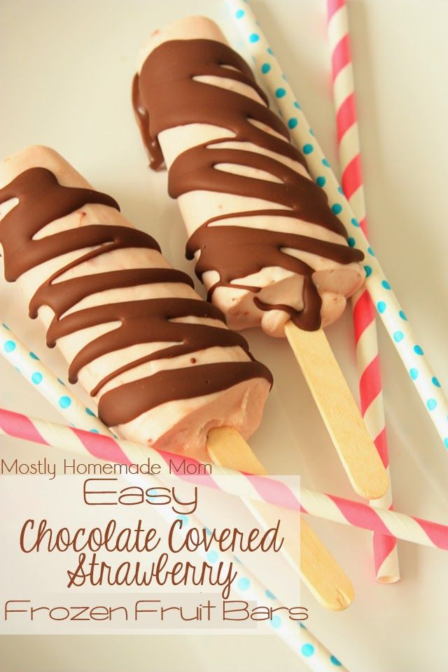 Easy Chocolate Covered Strawberry Frozen Fruit Bars - Strawberry frozen fruit bars drizzled with chocolate hardening sauce for an amazingly easy and delish summer treat!
