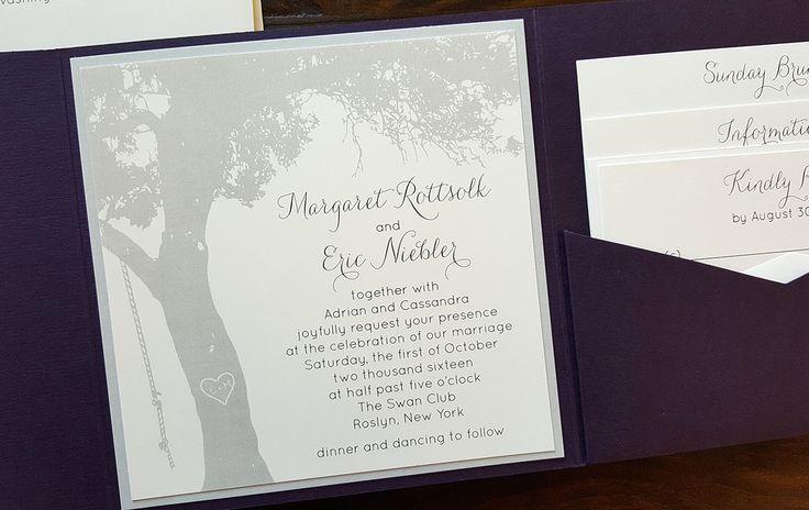 Purple and Gray tree themed wedding invitation. #envelopments #gardenwedding #treeweddinginvitation #oaktreewedding #rusticelegance #customweddinginvitations