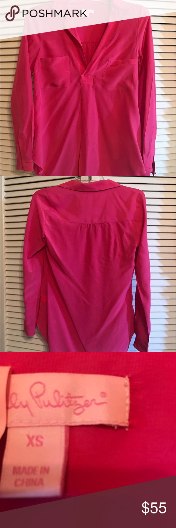 Lilly Pulitzer Hot Pink Silk Blouse XS Beautiful, barely worn Lilly Pulitzer hot pink silk blouse. Perfect to throw on with jeans or dress up for work! Lilly Pulitzer Tops Blouses