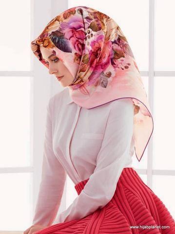 Armine Cherry Silk Hijab  - 1