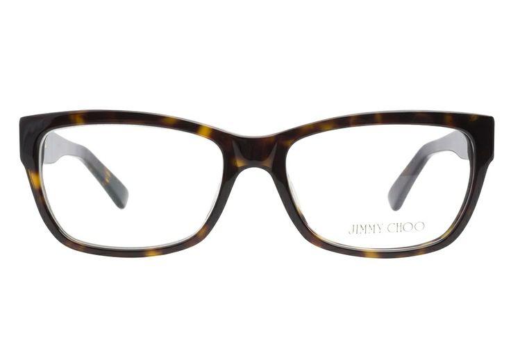 jimmy choo 66 086 dark havana eyeglasses are dazzlingly edgy this luxurious dark havana frame has a subtle cateye shape for a flirty feel the sil