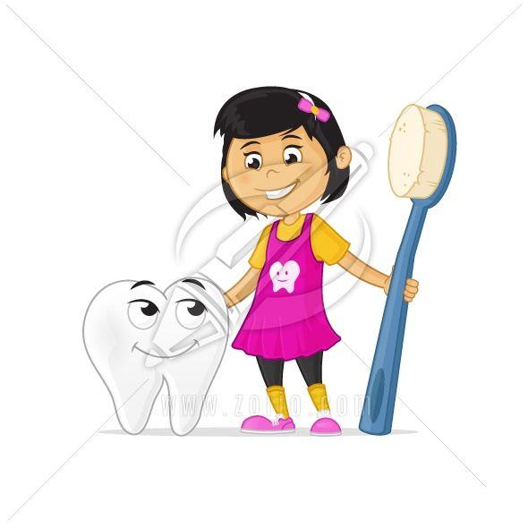 Happy little cartoon girl holding toothbrush, hugging tooth cartoon mascot character.