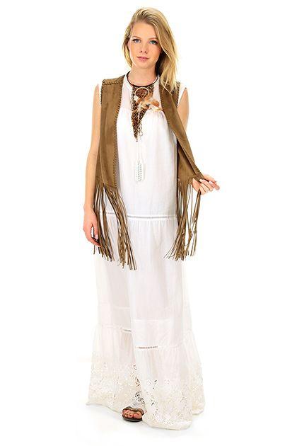 TWIN-SET SIMONA BARBIERI - Abiti - Abbigliamento - Maxi abito in cotone con inserti di pizzo sul fonddo. Applicazione di micro perline in plastica sul collo e nappine. - WHITE - € 220.00