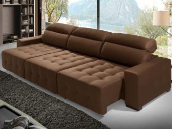 Sofá Retrátil e Reclinável Chaise 3 Lugares Suede - Acapulco Estofados Lima