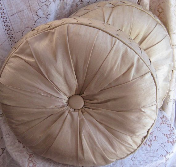 mid century round pillows button tufted round by rivertownvintage