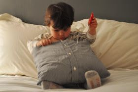 Ducklings In A Row - Hair + DIY Tutorials: DIY Pillows Made from Daddy's Shirts