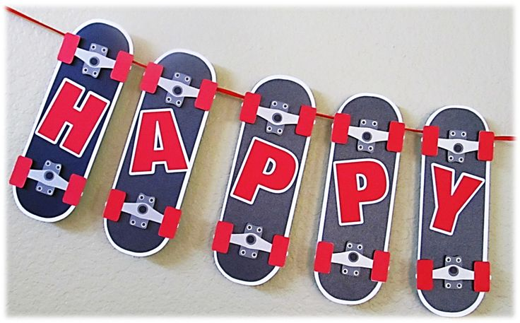 Happy Birthday Boy Banner Skateboard Theme