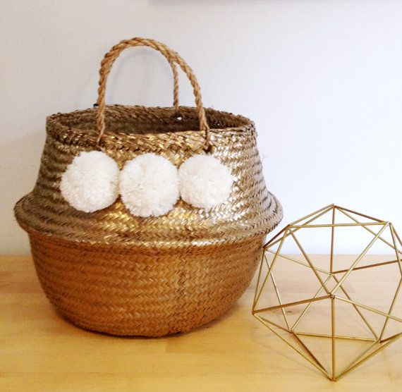 Wicker Basket With Pom Poms : Pom gold white seagrass belly basket panier boule