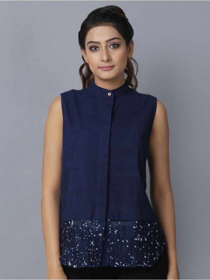 Indigo Hand Block Printed Cotton Chanderi Silk High Low Shirt