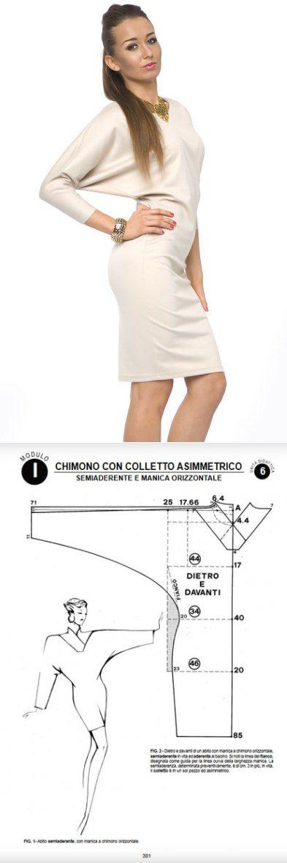 Шитье   простые выкройки   простые вещи.Приталенное платье с рукавами 'летучая мышь', выкройка на размер 44 (рос.).
