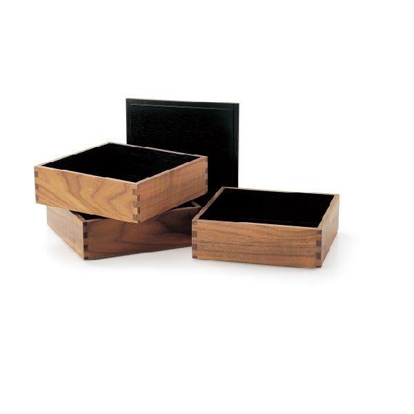 【送料無料】木のお重 木製 ウォールナット 6.0寸 三段重箱 越前漆器 内黒 3段重箱 越前塗り【おしゃれ】【ギフト】