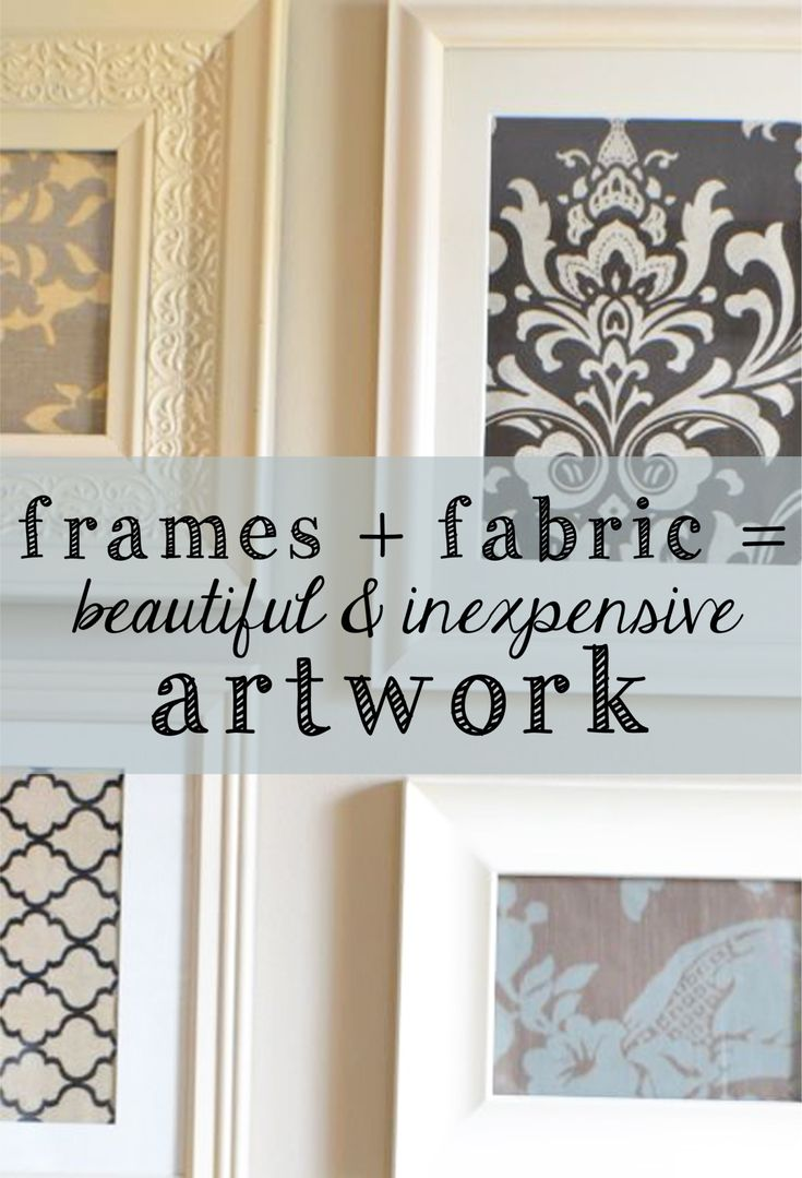 Create pretty wall art with fabric and frames!  {Buy fabric remnants on clearance and find inexpensive frames at Goodwill.}