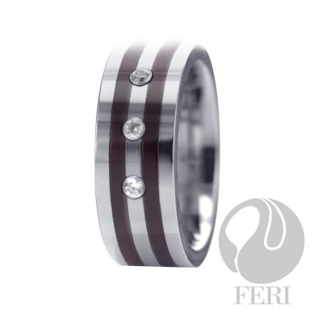 FERI Tungsten - Ring - Tungsten ring - Shell inlayed - Set with AAA cubic zirconia - Dimension: 8mm (Width)  FERI Tungsten, Plangsten and Hi-Tech Ceramic collections are unique with deep luster from within. The flawless features and indestructible nature of FERI Tungsten, Plangsten and Hi-Tech Ceramic pieces will create an everlasting beauty and confidence.  www.gwtcorp.com/ghem or email fashionforghem.com for big discount