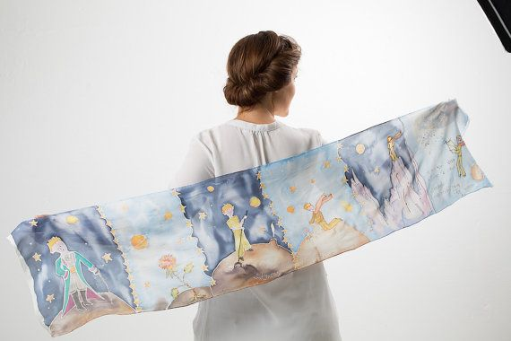 Hand painted scarf Little Prince. Silk scarf with the by SEscarves