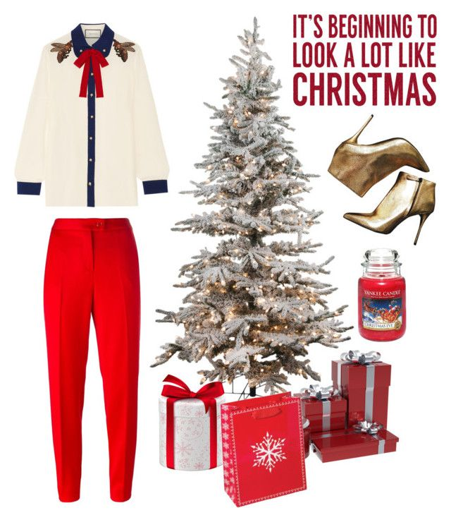 """Christmas #3"" by siggan22 on Polyvore featuring Alexander McQueen, Gucci, Boutique Moschino, Sixtrees and Yankee Candle"