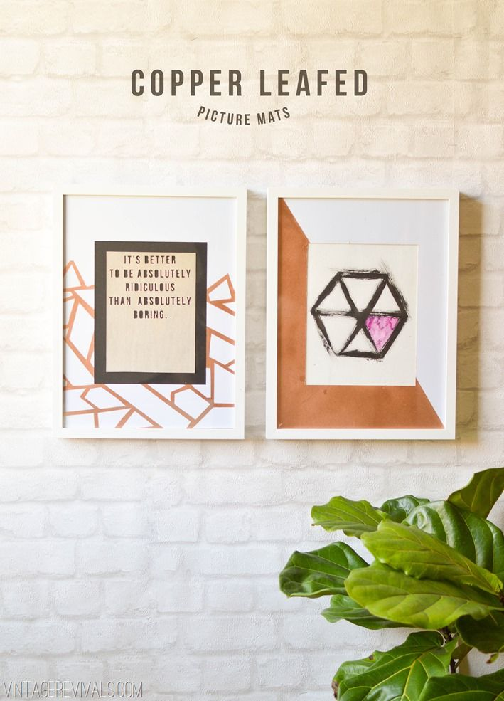 Copper Geometric Picture Mats & Hexagon Art