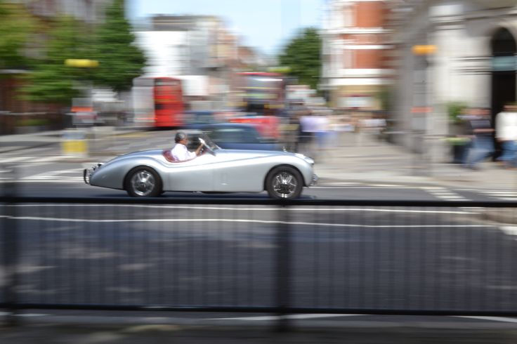 Panning effect photography. Classic car, Sloane Square, #London