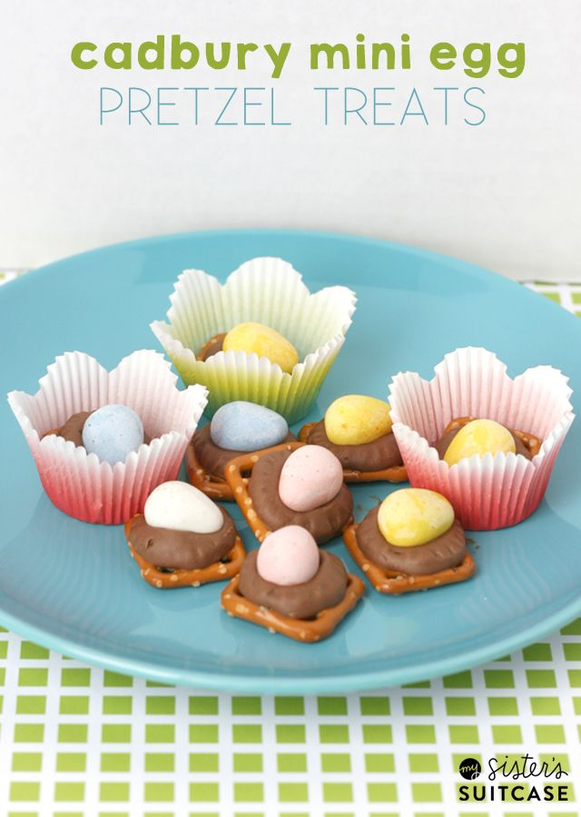 A spin on the easy Pretzel Turtles - using Cadbury Mini Eggs! 5 minute recipe from sisterssuitcaseblog.com