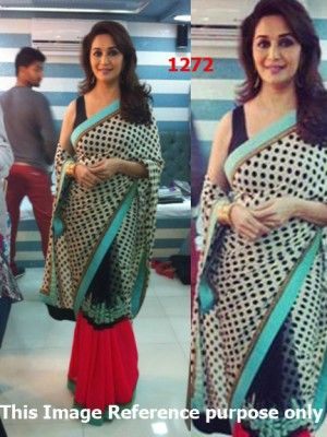 Madhuri Dixit In Jhalak Dikhla Jaa 2013 Polka Dotted Saree Check our New Bollywood collection, http://20offers.com/madhuri_dixit_in_jhalak_dikhla_jaa_2013_polka_dotted_saree?search=madhuri#.Uz50GqiSzxA , Available for shipping worldwide,  Buy Bollywood Sarees at lowest price in USA, CANADA, AUSTRALIA, NEW ZEALAND, SINGAPORE, MALYASIA ,UK, NETHERLANDS, FRANCE, JERMANY - Indian Clothing Online!