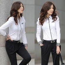 2015 Hot Sale mujer camisa con botones de manga larga bocanada ocasional señora de la oficina Tops blusa(China (Mainland))
