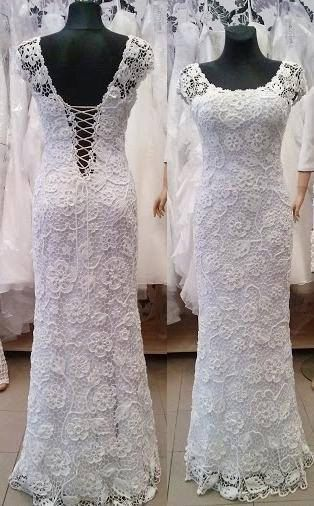 Unique irish crochet white wedding dress-MIA-handmade от LaimInga