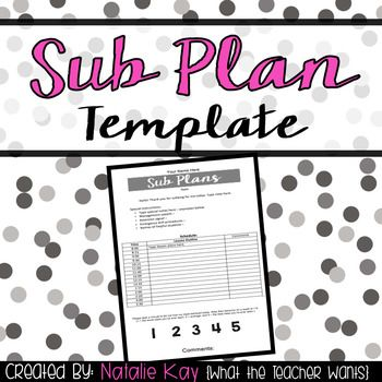 Your sub plans tell a lot about you as a teacher. Here is a simple template that will help you write nice and organized sub plans. It is editable, so you can fill in all the necessary info yourself including special notes to the sub, your daily schedule, and lesson instructions. It also encourages your sub to write comments about your class and rate their behavior. Jazz it up adding your own cute fonts and/or clip art. ...