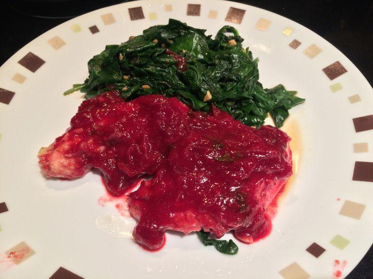 Filé de frango com molho de cranberry