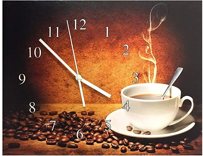 Banberry Designs Coffee Wall Clock Steaming Hot Coffee With Coffee Beans Canvas Clock Print Coffee Decoration Coffee Wall Decor Coffee Theme Coffee Decor