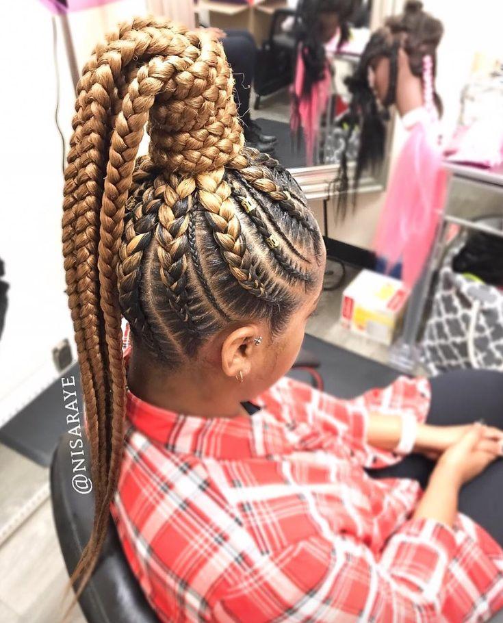 Nice high braided pony by @nisaraye - https://blackhairinformation.com/hairstyle-gallery/nice-high-braided-pony-nisaraye/