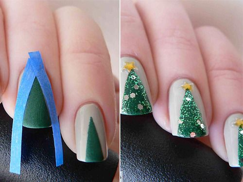 Christmas Tree nails!  Would only do it on one finger, the ring finger...for a holiday party...cute idea!
