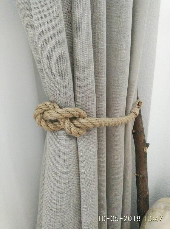 Jute Rope Curtain Tiebacks Nautical Tiebacks Rope Curtain Tie