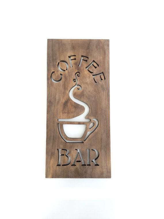 Coffee Bar Sign Modern Kitchen Art Wood Home Decor Unique Wall Art