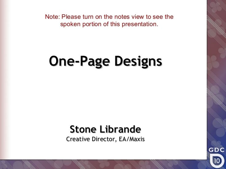 A description of a one-page design concept and its uses