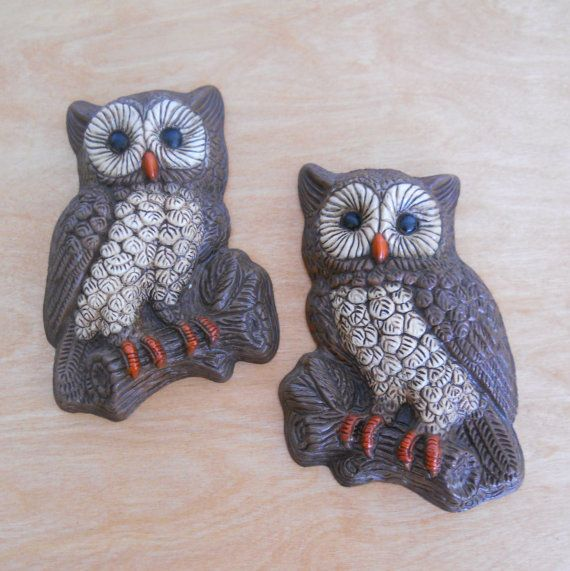 1970's Owl Pair  Vintage Owl Wall Decor