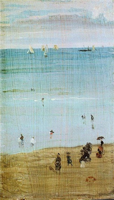 James Abbott McNeill Whistler, Harmony in Blue and Pearl: The Sands, Dieppe, ca. 1885, 22,86 x 13,97, Privé collectie