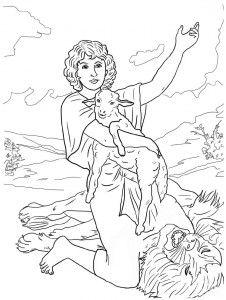 Давид спасает овечку. Библейские раскраски скачать с http://alla-kon.livejournal.com/