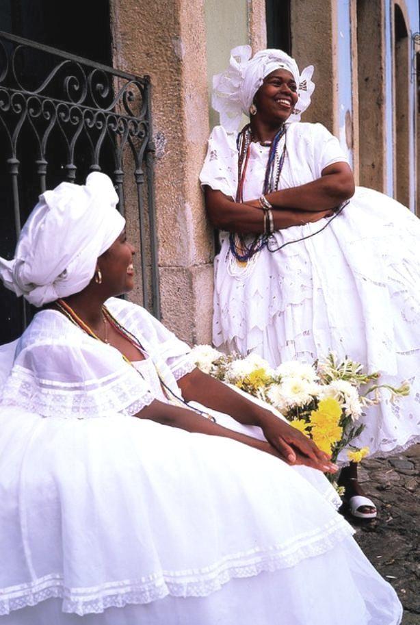 Local women in beautiful traditional dress, Salvador, Bahia.