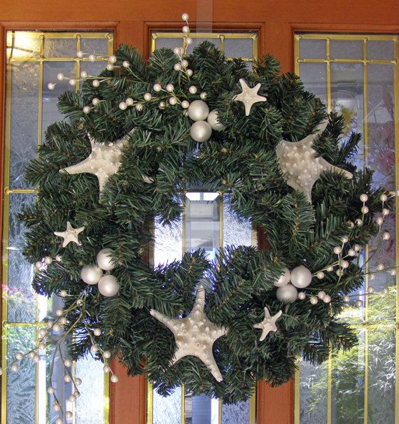 BEACH DECOR CHRISTMAS Wreath Starfish Wreath faux by justbeachynow