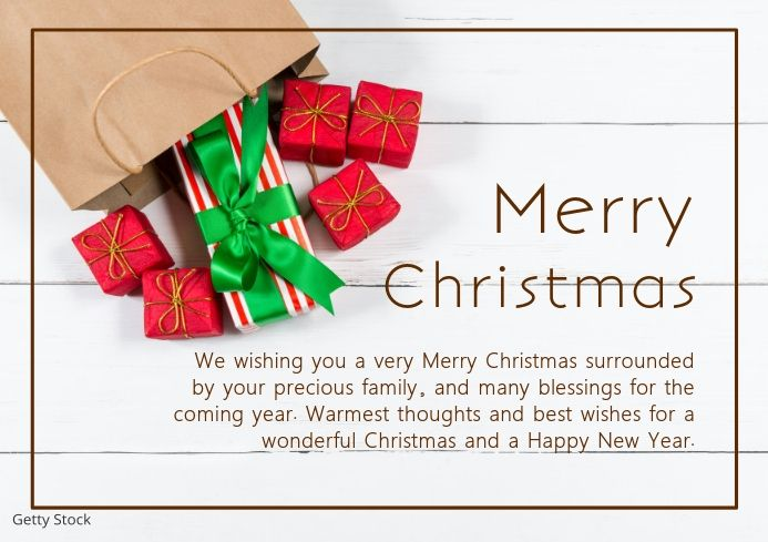 Merry Christmas Greeting Card Din Landscape Merry Christmas Card Greetings Christmas Templates Christmas Greeting Cards